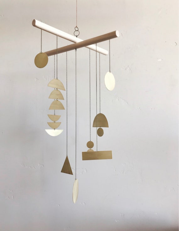 "Geometric Brass Mobile - ""quincy"" - made-to-order - 3 week turnaround time"