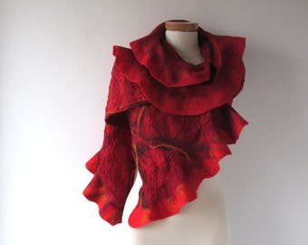 Felted ruffle scarf Red felt  ruffle collar Wool warm scarf Flame collar  Fire scarf  gift for her Red and Black   gift under 75
