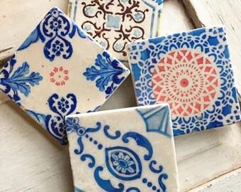 Vintage tile design stone coaster set