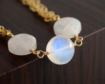 Rainbow Moonstone Bracelet, Gold Filled Chain, Gemstone Jewelry, Free Shipping