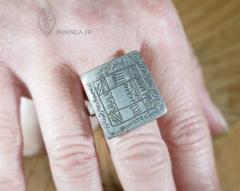 One of a kind Tuareg magic ring - protective ring - gri gri - Talismanic magic square - Medicine ring - Koranic script - Islamic amulet