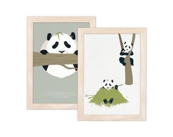 Set of 2 art prints - panda   children - nursery   A4 - 8.27 x 11.69 inches