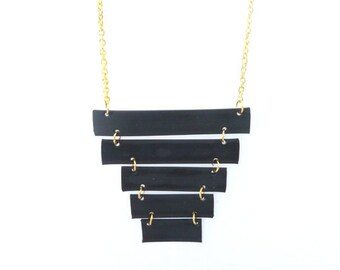 Black geometric necklace, Geometric minimal jewelry, black rubber necklace, Industrial, BDSM necklace, Cyber goth necklace, Pyramid necklace