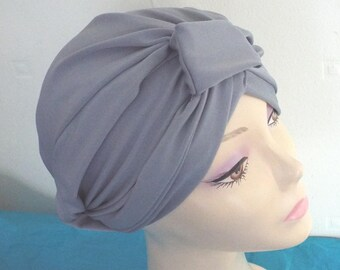Ladies Turban Hat in Gorgrous Grey Turban Hat with  knots both front and back