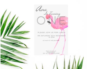 First Birthday Flamingo Invitations-First Birthday-Flamingo Invitation-Flamingo Birthday-Flamingo Party-Birthday Invitation-Flamingo