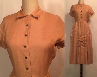 Vintage L'aiglon 50s Linen Dress