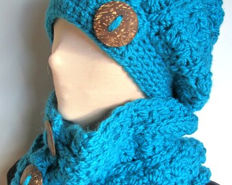 Chunky Crochet Cowl Only/Turquoise Crochet Cowl/Blue Crochet Cowl/Button Crochet Cowl/Warm Crochet Cowl/Warm Cowl/Teal Crochet Cowl