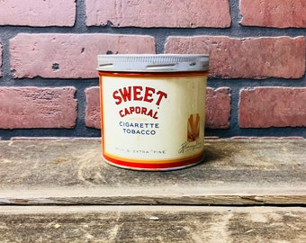 Vintage Sweet Caporal Cigarette Tobacco Can-Antique Tobacco can-collectible cans