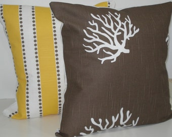 TWO New 18x18 inch Designer Handmade Pillow Cases in yellow and taupe.