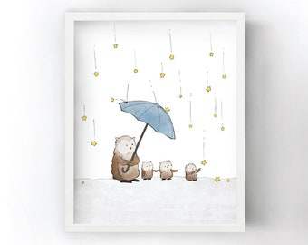 Owls Art Print - Raining Stars