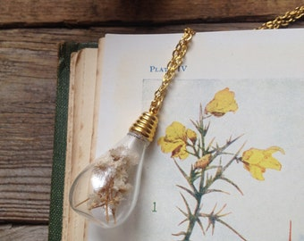 Dried flower necklace - glass vial - terrarium necklace - real flower - botanical necklace - flower pendant - Gypsophila