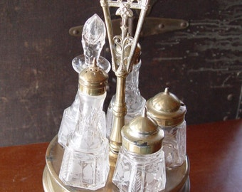 Antique Silver and Crystal Condiment Set Lazy Susan 1878 - 135 Years Old