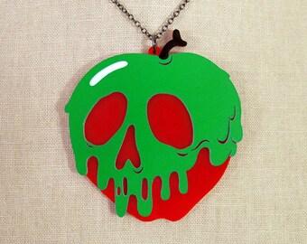 "Poison Apple Necklace - LARGE 2.5""- Snow White -  Acrylic Laser Cut Necklace"