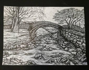 Eastergate, Marsden, Yorkshire. A4 Pen and Ink Illustration Print
