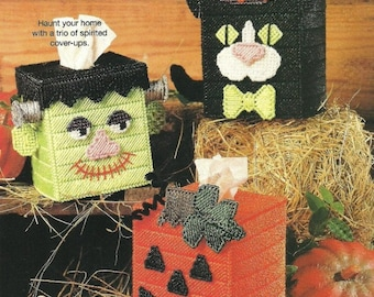 3 Halloween Boutique Tissue Box Covers /Cat/ Frankie /Pumpkins 7 Ct Plastic Canvas/ Digital Download