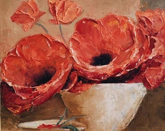 Poppies Oil Painting / Floral Painting Canvas / Red Poppies Painting / Original Oil Painting on Canvas