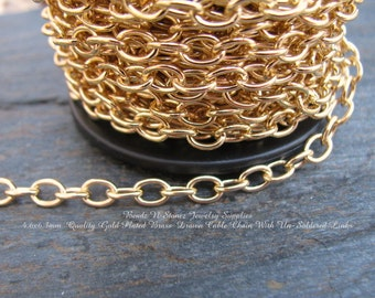 5 Feet - Quality Gold Plated Brass 4.6mm x 6.3mm Drawn Cable Chain