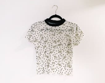Dice Print Thermal 90s Inspired Crop Top Vintage Fabric