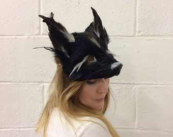 Luxury Black Feather Fox Mask, Woodland Animals, Festival Headdress, Carnival Mask, Fox Mask Adult, Fox Masquerade Mask, Animal Mask