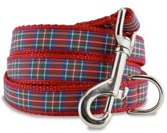 Scottish Plaid Dog Leash, Tartan dog Leash, Red dog Lead, Royal Stewart Tartan