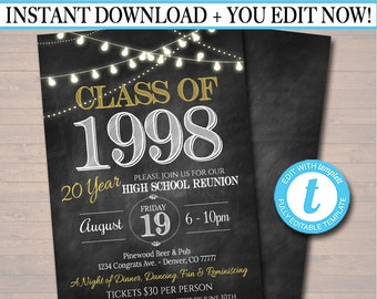 Editable Reunion Invitation Template - Any Year!  College Reunion, High School Reunion Party Lights Faux chalkboard invite  INSTANT DOWNLOAD