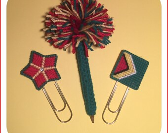 PomPom Pen, Star and Flag Large Paper Clip