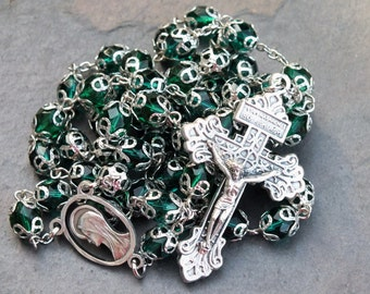 Czech Glass Rosary in Dark Teal/Green with Pardon Crucifix, 5 Decade Rosary with Bead Caps, Catholic Rosary, Ornate Rosary