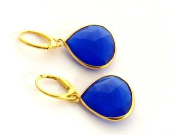 Royal Blue Chalcedony Earrings, Blue Gemstone Earrings, Large Royal Blue Earrings, Blue Dangle Earrings, Gold Fill