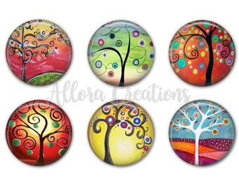 Swirly Trees Magnet Set, Fridge Magnets, Tree Magnets, M029