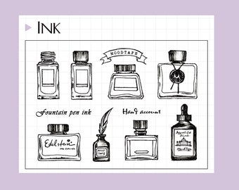 clear Stamp Set / Clear Stamps /ink bottle themed transparent stamps
