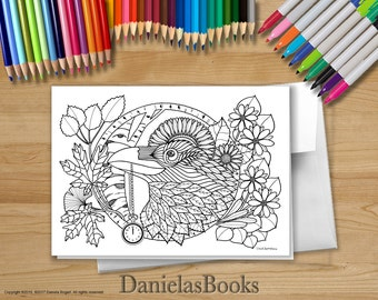 1 Raven - 5x7 - Coloring Greeting Card - blank inside. Perfect gift for art lovers.