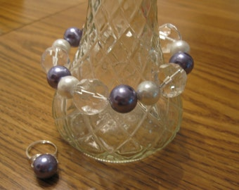 Pearl and Crystal Bracelet and Ring Set-New Price