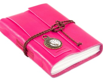 Leather Journal with Blank Paper, Pink Leather Notebook, Breast Cancer Awareness, Travel Diary, Fitness Journal, Antique Key Charm