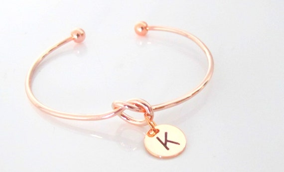 Knot Bracelet, Love Knot Initial Bracelet, Rose Gold or Silver or Gold Bridesmaid Bracelet,bridesmaid gift,tie the Knot ,Free Shipping USA