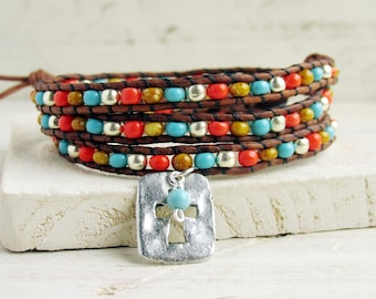 Southwestern Triple Leather Wrap Bracelet with Silver Cross, Turquoise Coral and Sand Seed Beads, Western Cross Jewelry