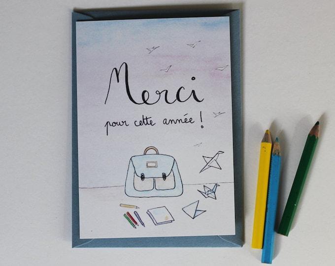"""Thank you"" card - teacher illustration Watercolour & ink"