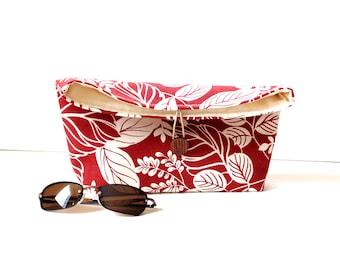 Fold over purse, floral leaves botanical cotton print clutch bag, everyday handbag, Summer bag,