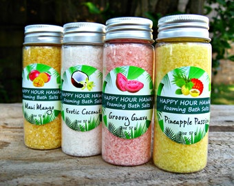 FOAMING BATH SALTS: Choose from Mango, Coconut, Guava, Pineapple-Passionfruit, Hawaiian Mini Favors. 2 oz (57 g).