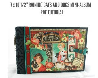 "7 1/2""x10"" Raining Cats and Dogs Scrapbook Mini-Album PDF Tutorial"