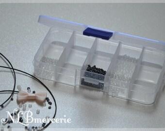 Boite en plastique, rangement pour perles en plastique transparent 13 cm x 6.5 cm