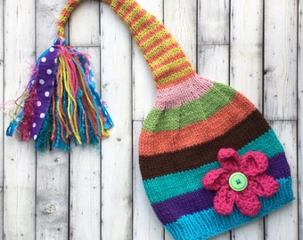 Girl Flower SToCKiNG CaP Long Tail Knit PiXiE Hat FuN TaSSeL BeANiE Girly Teal Pink Coral Lime Stripe ToQUE Child to Small Adult UNiQUE GiFT
