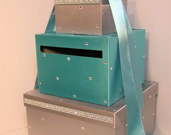 Wedding Card Box Silver &Turquoise Gift Card Box Money Box Holder-Customize Your Color
