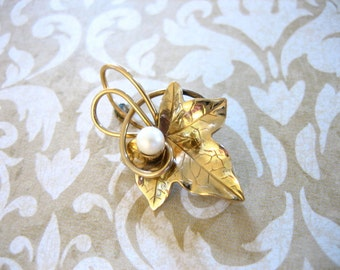 Vintage Carl Art Gold Filled LEAF w Pearl Brooch or Pendant