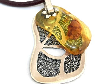 Embers Fire Necklace / Amber and Silver Teklari Necklace & Pendant