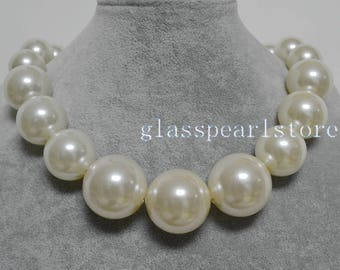 Big Pearl Necklace, Pearl Gradually Necklace, large pearl necklace,faux pearl necklace, choker necklace, statement necklace,pearl jewelry