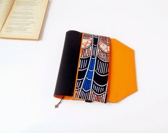 Protects-pocketbook adjustable fabric with bookmark (African fabric / noir_bleu_orange)