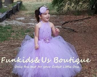 Lavender with rhinestone  Flower Girl Tutu Dress, Lavender Tutu Flower Girl Dress, Can be made in different Color