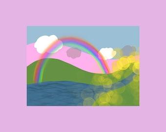 5 x Rainbow Happy Mail Postcards A6 / Penpal / Snailmail