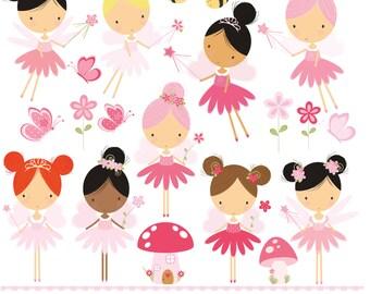 Pink Garden fairy, princess fairy, flowers and butterflies, digital clip art set