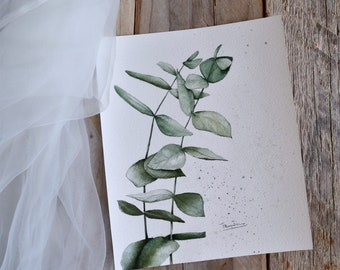 Original painting with watercolor of eucalyptus branches